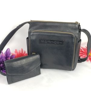 Vintage leather Fossil crossbody bag & wallet